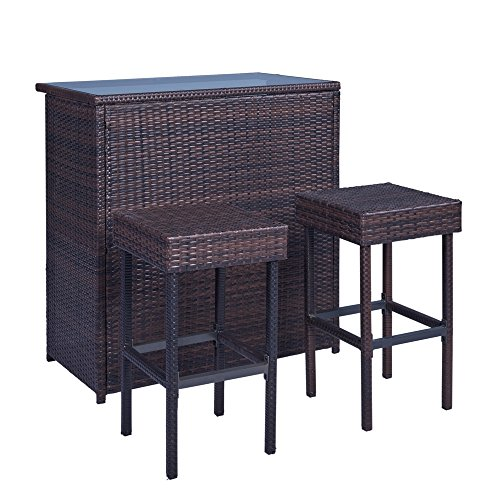 Palm Springs Wicker Style 3 Piece Outdoor Bar Set with Stools - High Bar Table with Glass Top with 2 Stools