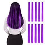 Colored Clip in Hair Extensions 22' 10pcs Straight Fashion Hairpieces for Party Highlights Purple