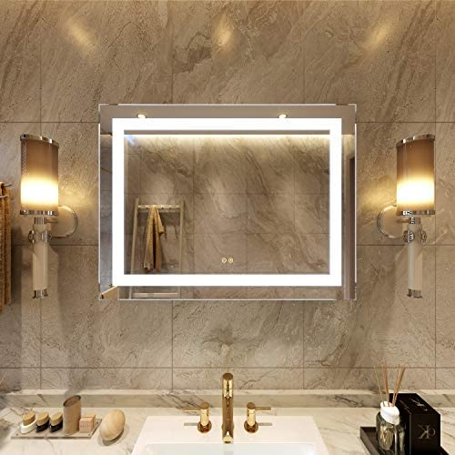 Petus PetusHouse 36 X 28 Inch LED Lighted Bathroom Wall Mounted Vanity Mirrors, White Light Dimmable Anti-Fog Memory Touch Button Waterproof CRI 90 Bathroom Bedroom Mirrors, Vertical Horizontal