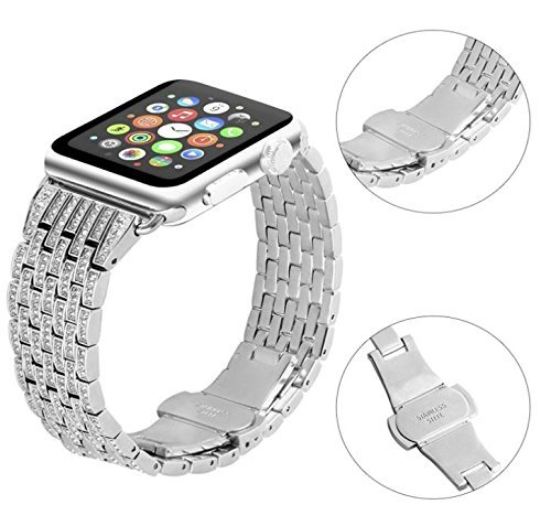 Scattered Diamond Watch - Amaztar Watch Band Compatible With Apple Watch Luxurious Crystal Rhinestone Diamond Stainless Steel Bracelet Strap (Silver, 38mm)