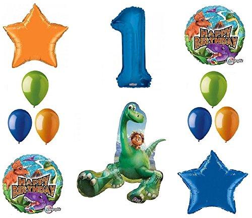 Good Dinosaur Dino 1st Birthday Party 12 Piece Mylar and Latex Balloon Bouquet Set