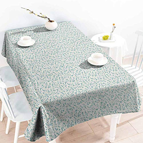 familytaste Ivory and Blue,Table Cloth for Outdoor Picnic Vintage Floral Arrangement Victorian Swirls Medieval Composition 60