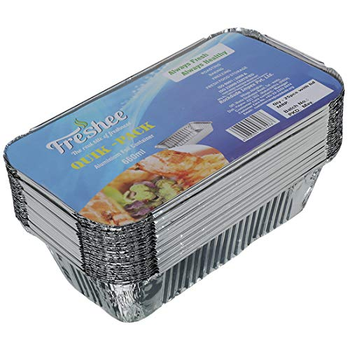 Freshee 25 pcs Aluminium Silver Foil Container 660ml, Food Storage Disposable Containers with Lid for Kitchen Price & Reviews