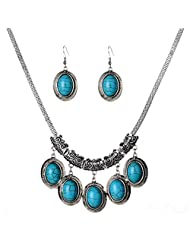 YAZILIND Charms Jewelry Big Oval Turquoise Pendant Tibetan Silver Earrings Necklace Sets