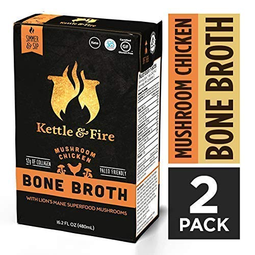 Mushroom Chicken Bone Broth Soup by Kettle and Fire, Pack of 2, Keto Diet, Paleo Friendly, Whole 30 Approved, Gluten Free, with Collagen, 10g of protein, 16.2 fl oz