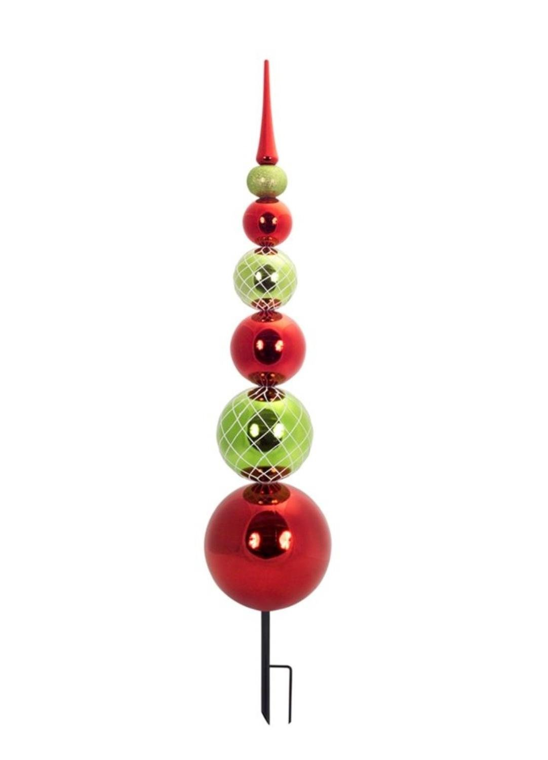 Diva At Home Pack of 2 Unique Red and Green Stacked Ornament Garden Stake 46""