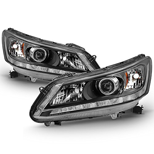 ACANII - For 2013 2014 2015 Honda Accord Sedan Halogen w/LED DRL Headlights Headlamps Replacement Driver + Passenger ()
