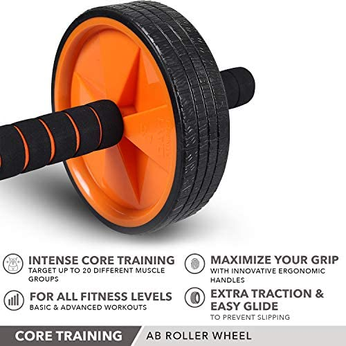 Ab Wheel Roller by Day 1 Fitness for Core Training, with Extra Traction and Easy Glide - Premium, Durable Exercise Wheel with Non-Slip Grip for Men and Women - Abdominal Workout Equipment for Obliques