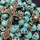elegantmedical Handmade Catholic XL 10MM Bule howlite Skull Beads Antiqued Rosary Bead Cross Bronze Crucifix Necklace Catholic Gifts