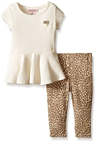 Juicy Couture Ribbed - Juicy Couture Baby Girls' Lurex Ribbed Interlock Top and Printed Stretch Jersey Pants, Vanilla, 3-6 Months