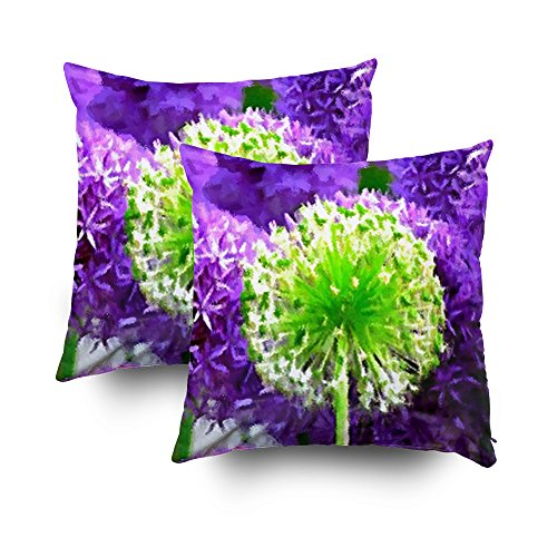 Musesh Pack of 2 dare to be different lime green purple flowers Cushions Case Throw Pillow Cover For Sofa Home Decorative Pillowslip Gift Ideas Household Pillowcase Zippered Pillow Covers 18X18Inch ()