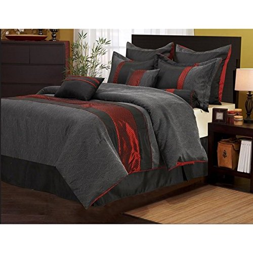 7 Piece Solid Geometric Design Comforter Set Queen Size, Fea