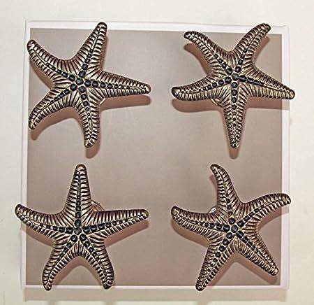 Amazing 4 X Metal Starfish Cupboard Door Knobs Pull Handles