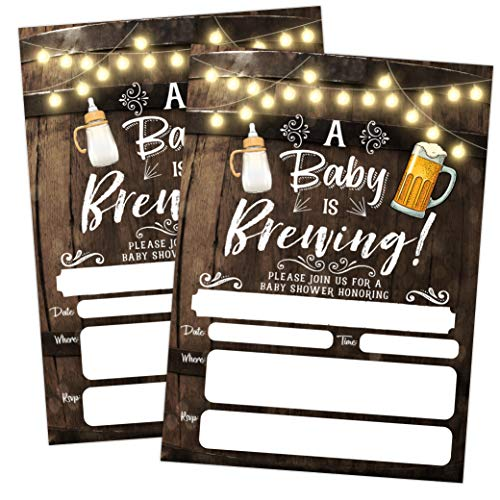 A Baby is Brewing Baby Shower Invitation, Beer and Bottle Couples Shower Co-ed, 20 Invitations with envelopes ()