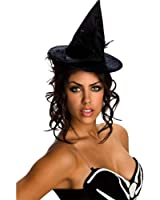 Adult Black Velour Mini Witch Hat - Adult Std [Chin Strapped]