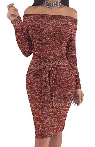 Jaycargogo Bodycon Women Casual Long Red Off Wine Shoulder Dress Sleeve Dress Mini Evening rwqrdO