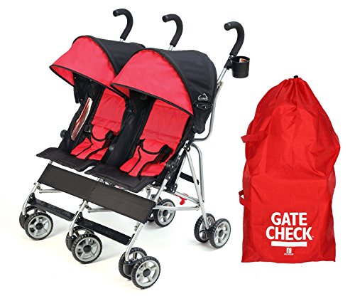 Kolcraft Cloud Double Umbrella Stroller with Gate Check Travel Bag, Scarlett Red