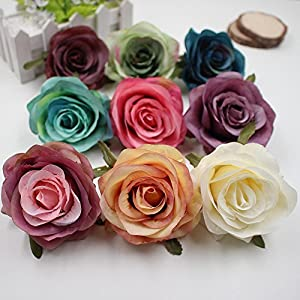 Flower Heads in Bulk Wholesale for Crafts Silk Fake Flower Head Artificial Flowers Blooming Roses Wedding Party Home Decoration DIY Festival Shoes Dress Decor 5pcs/lot 8cm 81