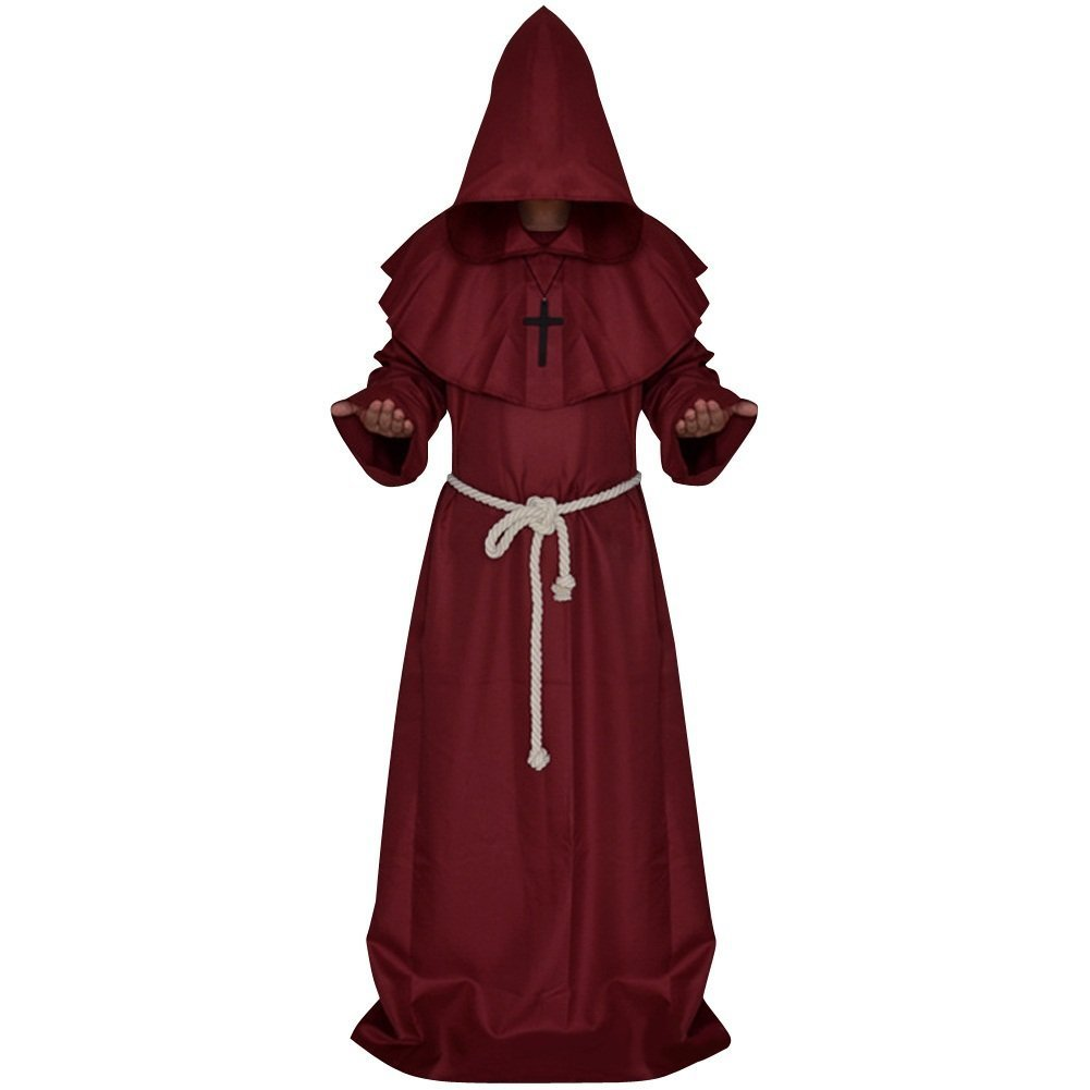 Men's Friar Medieval Hooded Monk Priest Tunic Robe Halloween Cosplay Cloak Costume(Red,L)
