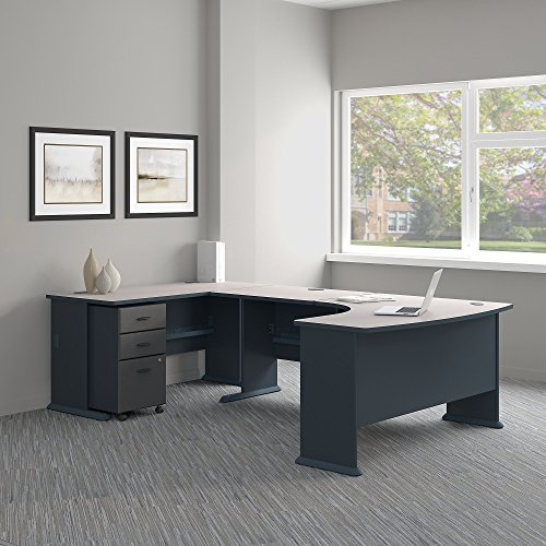 - Bush Business Furniture Series A 60W Left Handed U Shaped Desk with Mobile File Cabinet in Slate and White Spectrum