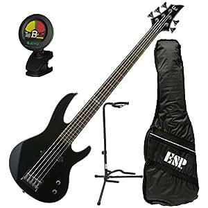 esp ltd b 15 blk 5 string electric bass guitar kit w gig bag stand and tuner. Black Bedroom Furniture Sets. Home Design Ideas