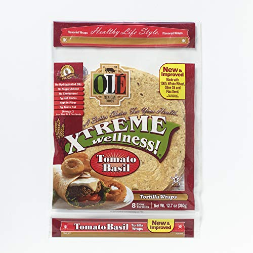 Ole Xtreme Wellness Tomato & Basil Tortilla Wraps, 8ct Packs - 6 Pack Case ()