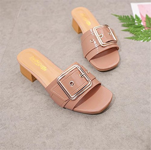 Pink Heel Slippers ToeMules Womens Sandals Slide Open Shoes Block qRvI8w