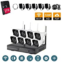 VOYAGEA 8CH 720P NVR Night Vision IP Surveillance Camera Kit 2TB HDD Wireless Home Surveillance Security Camera System,8 pcs 1.0MP Night Vision720P Security IP Cameras A33
