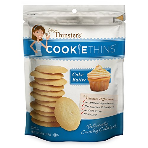 Mrs. Thinster's Cookie Thins, Cake Batter Flavor, Thin Crunchy Cookies, Non-GMO, No Artificial Flavors, Colors, Preservatives, Peanut-Free, 4oz Bag, Pack of 12