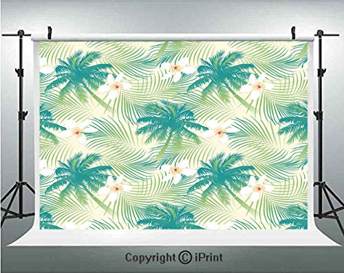 (Leaf Photography Backdrops Oceanic Island Palm Tree Leaves with Papaya Crepe Ginger Flowers Art Print Decorative,Birthday Party Background Customized Microfiber Photo Studio Props,10x6.5ft,Light Green)