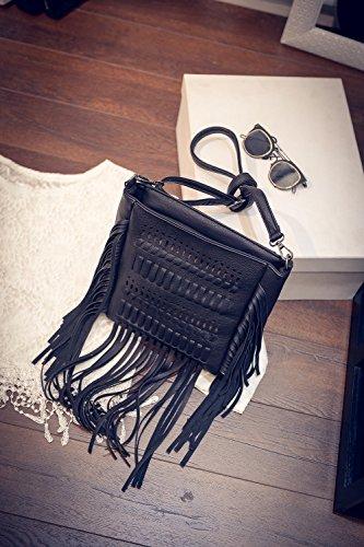 Fringed Cutout Black Bag Crossbody Design Leisures Shoulder Women Classic Ugnzqxa
