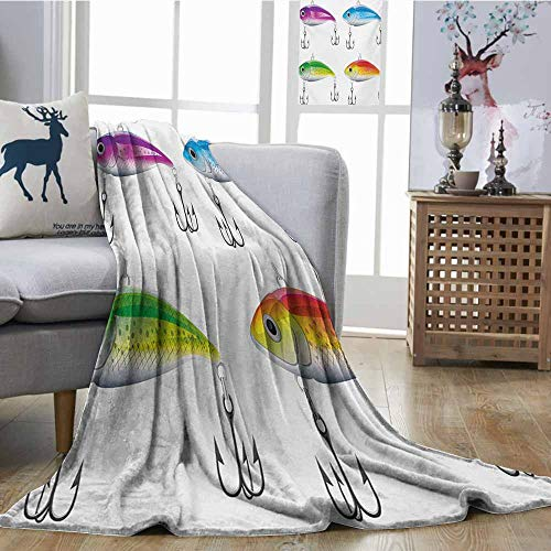 Price comparison product image Homrkey Warm Blanket Fishing Collection of Fishing Lures in Trout Shape Trap for Sea Mammals Creatures Picture Multicolor Anti-Static Throw W51 xL60
