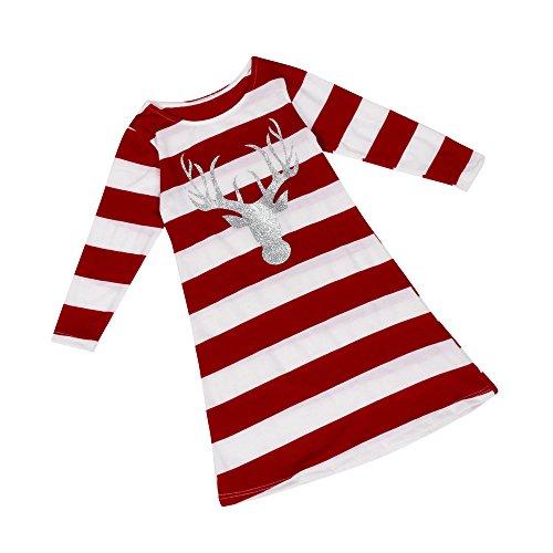 GREFER Women Girl Fashion Stripe Dress Round Collar Christmas Elk Long Sleeve Casual Dress - Curtain 3 Shower Stripe