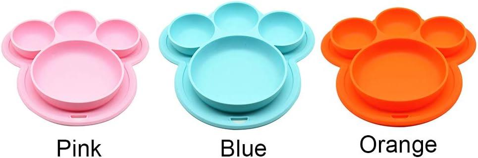 Plato de Silicona para ni/ños Tama/ño Libre Azul dise/ño de Oso con ventosas ljym88