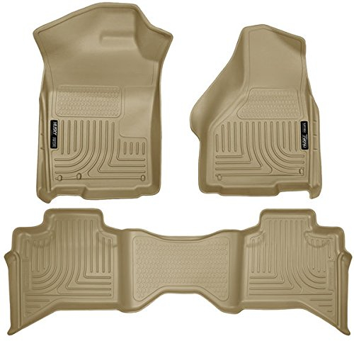WeatherBeater Floor Liners For Dodge ~ Ram Pickup ~ 2009-2017 ~ Tan ~ 1500 Quad Cab, Front and Rear Liners - 3 PCS (Ram Dodge Tan)
