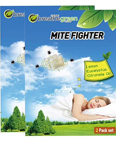 Breathe Green Mite Fighter | Herbal Dust Mite Treatment | All Natural Dust Mites Eliminator| No Harsh Chemicals | Repels Mites From Bedding, Couches, Carpet, Cushions | 4 Easy To Use Pouches (2-Pairs)