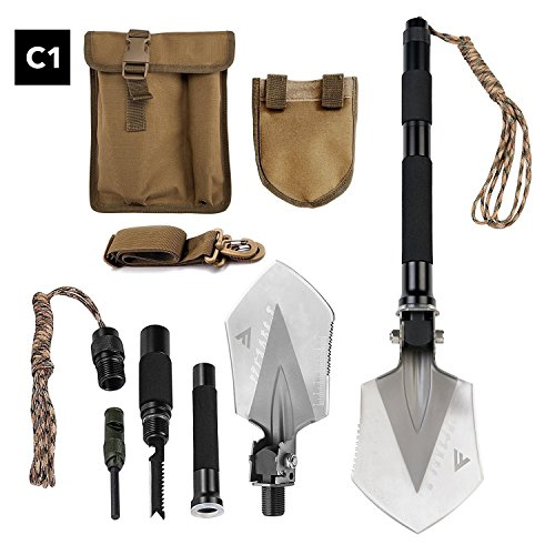 FiveJoy Military Folding Shovel Multitool (C1) - Tactical Entrenching Tool w/Case for Camping Backpacking Hiking Car Snow - Portable, Multifunctional, Compact Emergency Kit, Heavy Duty Survival Gear