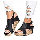 Icerom Women Fashion Solid Buckle Wedge Peep Toe High Ankle Sandals Flats