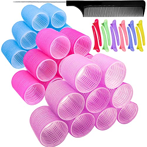 KHTD Large Hair Rollers Sets for Medium Long Hair,Self Grip Heatless DIY Curly Hairstyle Curlers Includes 27 Pcs Hair Curlers and 12 Pcs Clips,Hairdressing Curlers Tools (9 Jumbo+9 Large+9 Medium)