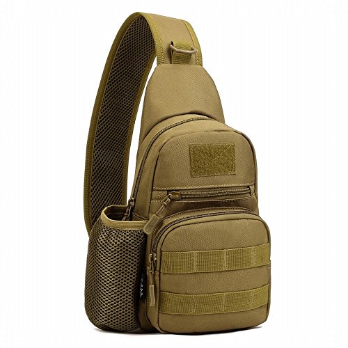 Price comparison product image HYOUSANN Compact Sports Sling Chest Crossbody Molle Bag Pack with Bottle Pocket Brown