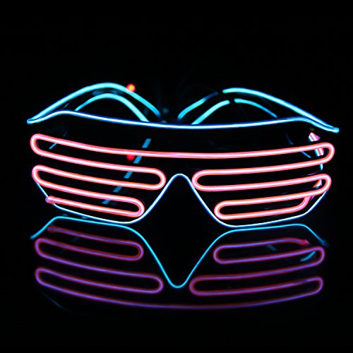 Led Light Up Neon Shutter Party Glasses for Parties Decorations(Blue+Pink)