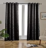 dark grey curtains sale Mysky Home Twigs Fashion Design Print Thermal Insulated Blackout Curtain with Grommet Tops for Bedroom, 52 by 95 inch, Dark Grey - 1 Panel
