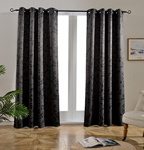 Mysky Home Twigs Fashion Design Print Thermal Insulated Blackout Curtain with Grommet Tops for Bedroom, 52 by 84 inch, Dark Grey - 1 Panel (Curtains Blackout Leaf)