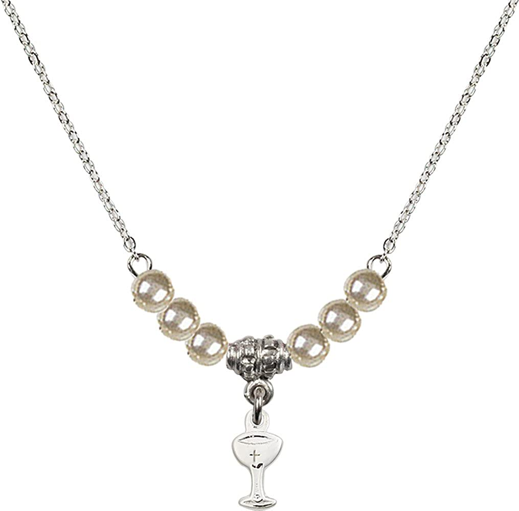 18-Inch Rhodium Plated Necklace with 4mm Faux-Pearl Beads and Sterling Silver Chalice Charm.