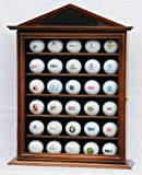 30 Golf Ball Designer Display Case Cabinet Holder Wall Rack -Walnut