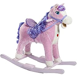 HollyHOME Child Princess Rocking Horse Riding Rocker with Sound Pretend Play Stuffed Animal Ride On Toy Purple