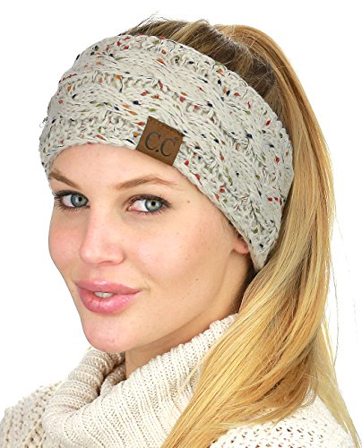 C.C Soft Stretch Winter Warm Cable Knit Fuzzy Lined Ear Warmer Headband, Confetti Oatmeal