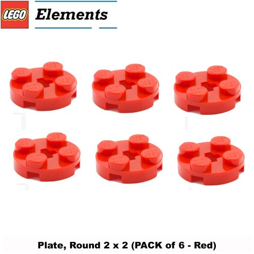 Lego Parts: Plate, Round 2 x 2 (PACK of 6 - Red)