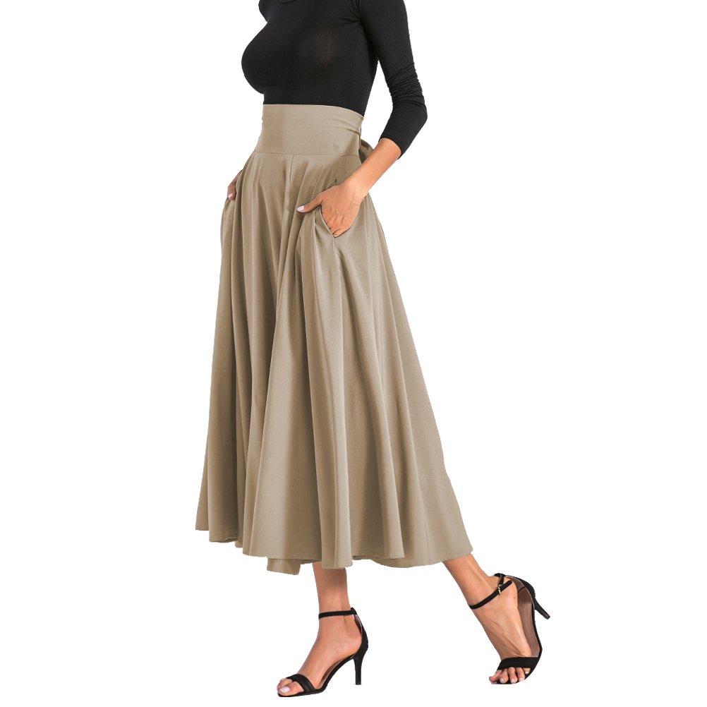 91de855d5 BFUSTYLE Mujeres All Seasons de Cintura Alta Swing Plisado de Longitud  Completa Front Slit Belted Maxi Skirt