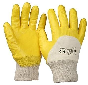 SBS® Nitrilhandschuhe | 12 Paar | Gelb | Gr. 9 L | mit Strickbund Nitril-Handschuhe | Arbeitshandschuhe